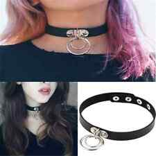 Sexy Gothic Punk Rock Dark Harajuku Double O RING Leather Collar Choker Necklace