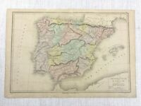 1877 Antique Map of Spain Portugal Political Physical Hand Coloured 19th Century