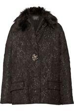 $4250 LANVIN Designer Black Faux Fur-trimmed Jacquard Oversized Coat Jacket