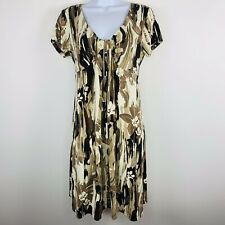 Dressbarn Womens Dress Sz 6 Brown Geometric Print Short Sleeve V Neck   N15