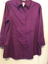 Chico's Sz 16 (3) Women Cranberry L/S Cotton Long Tunic /W Hidden Front Buttons!