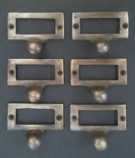 """6 Brass Card File Holders With Handles Antique Style 2 1/8"""" wide x 1"""" tall #F2"""