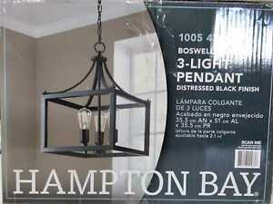 Boswell Quarter 3-Light Distressed Black Pendant by Hampton Bay
