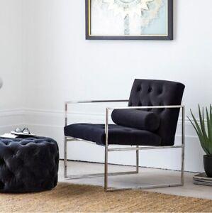 Frank Hudson Gallery Direct Sergio Jet Velvet Armchair