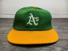 Oakland A's Hat Athletics 70s Vtg Wool Patch Baseball Cap Elastic EUC