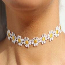 Vintage Beautiful Daisy Flower Choker Chain Necklace Yellow & White Boho 80S 90S