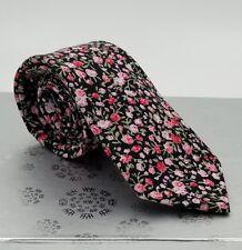 Men's CROFT & BARROW cotton NECKTIE tie BLACK pink FLORAL