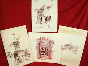 Lot of 4 Vintage Original Pen & Ink Architectural Drawings by TONY LUSHY Germany