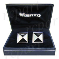 New Men's Cufflinks cuff links square mother of pearl Black white triangle prom