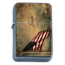 Windproof Refillable Oil Lighter Vintage American Flag D6 Patriotic Stars Honor