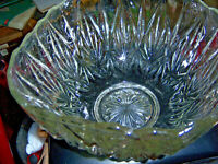 Crystal fancy bowl solid glass with what looks like flakes built into the glass