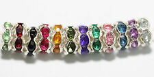 6mm Mixed 100pcs Silver Plated Rondelle Crystal Rhinestone Beads Spacer Findings