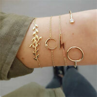 Women 4Pcs/Set Gold Leaves Moon Crystal Simple Open Bangle Bracelets Jewelry New