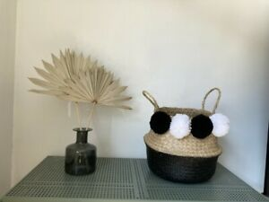 Belly Baskets Natural Seagrass Storage Wicker handles WHITE&BLACK PomPoms Dipped