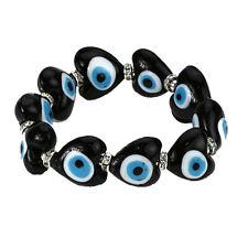 Evil Eye Bracelet in Black Murano Glass Hearts for Protection