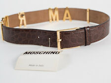 New Moschino Redwall  Croc-Embossed Brown Leather Belt Size 44