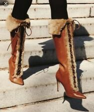 Manolo Blahnik Womens Brown  Boots