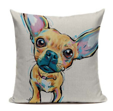 Chihuahua DOG4 Cushion Pillow Cover Cartoon Pet Funny Happy Canine Puppy Paint