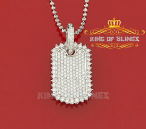 10K White Gold Finish Silver Dog Tag Pendant with Lab Created Diamonds