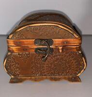Vintage Distressed Wood Handmade Trinket Treasure Jewelry Chest Box Hinged