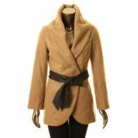 IMAN NEW Women's Brown Wool Blend Belted Peacoat Jacket Top XS TEDO