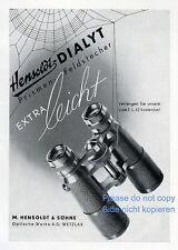 Fernglas Hensoldt Reklame 1942 Wetzlar Feldstecher Dialyt Spinnenwebe Spinne +