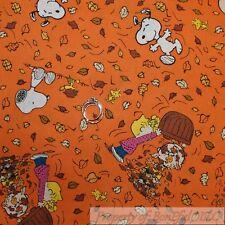 BonEful Fabric FQ Cotton Quilt VTG Orange Red Snoopy Woodstock Fall Leaf Basket