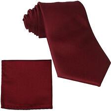 New Men's extra long necktie & hankie set solid Burgundy wedding formal big tall