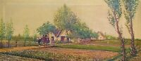 VALENCIA COUNTRY AND PEASANTS. OIL ON CANVAS. SIGNED. C AMORÓS. SPAIN. 1930