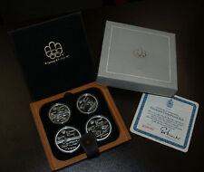 1976 Canada Water Sports Olympic Four Coin Silver Proof Set w/Maple Case