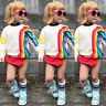 Cute Baby Girls Kids Rainbow T-Shirt Clothes Blouse Sweater Sweatshirt Cardigan