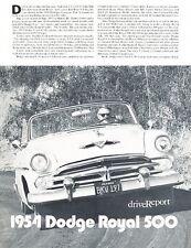 1954 Dodge Royal 500 Convertible Original Car Review Print Article J585