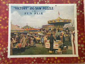 VICTORY JIGSAW WOODEN VINTAGE JIGSAW PUZZLE FUN FAIR 300 PIECES COMPLETE HAYTER