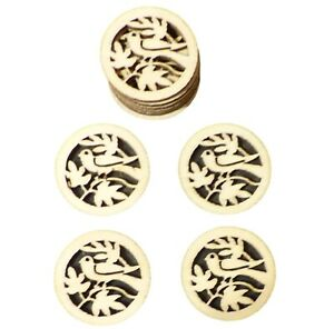 50pcs Rustic Round Wooden Circles with Bird and Leaves Confetti Embellishment