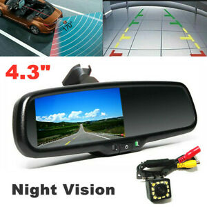 "4.3"" TFT LCD Display Auto Dimming Rear View Mirror Monitors w/Rear 12 LED Camera"