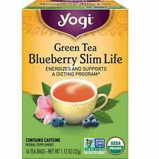 YOGI GREEN TEA BLUEBERRY SLIM LIFE (16 bags x 1 box) Energizing & Supports Diet