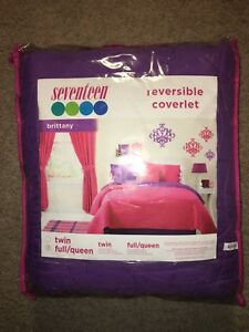 Seventeen ~Brittany Purple / Pink Reversible Coverlet Blanket ~Full / Queen Size
