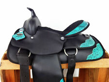 "14"" TURQUOISE BLACK SYNTHETIC WESTERN YOUTH COWBOY TRAIL PONY HORSE SADDLE TACK"