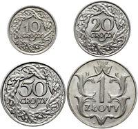 Polen II RP - KONVOLUT 4 Münzen - 10, 20 u. 50 Groszy 1923 + 1 Złoty 1929 - LOT