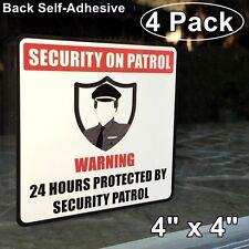 4 Home Business SECURITY ON PATROL Guard Window Door Warning Vinyl Sticker Decal
