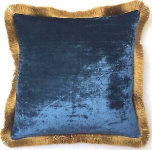 Anke Drechsel Pillow PLAIN Gold Fringe Cobalt Silk Velvet Cushion Kissen Blau