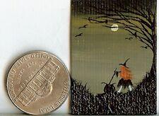 ORIGINAL 1x1.5 Painting Miniature Witch Cauldron Fantasy Forest Ravens Art HYMES