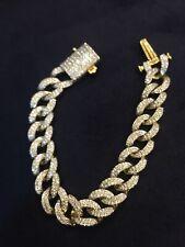 585 Stamped 14K Gold 4.75 TCW Round Brilliant Cut Diamonds Men's Link Bracelet