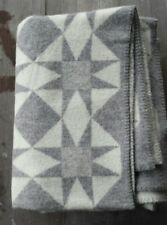 Klippan Sweden 100% Wool Blanket Gray and White – Quilting Star – New