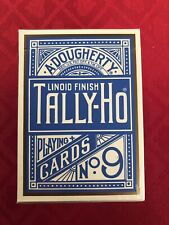 Tally-Ho No. 9 - Maeda - Light Blue w/ Gold Borders - Playing Cards