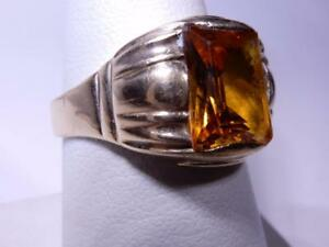 Vintage Mens' 10K Yellow Sapphire Ring Size 10 Signed backwards E & Triangle
