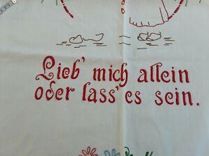 """Cache Torchon  Alsacien """" Lieb Mich Allein Oder Lass' Es Sein"""""""
