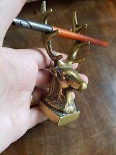 antique brass ink dip pen holder stag deer nib desktop