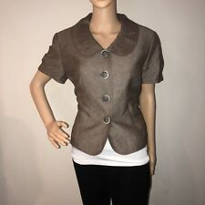 Tahari Linen Blazer Size 12 Womens Button Down Dress Jacket Top Shoulder Pads