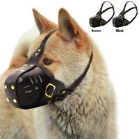 Leather Dog Muzzle Adjustable Pet Basket Cage Bark Bite Chew Control Pit Bull